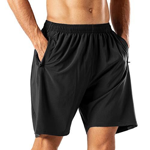 HMIYA Pantaloncini Sportivi da Uomo Running Shorts con Tasca con Zip per Jogging Fitness (Nero, 3XL)
