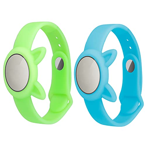Paquete de 2 AirTags Luminous Soft Silicone Watch Strap, Glow-In-Night Safety y...
