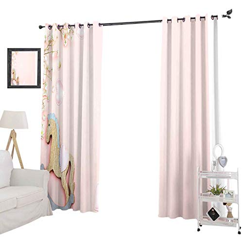 YUAZHOQI Blackout Curtains for Bedroom, Pink Background with Mini Rocking Horse Toy and gypsophila Flowers Copy Space to, 52' x 84' Waterproof Window Curtain