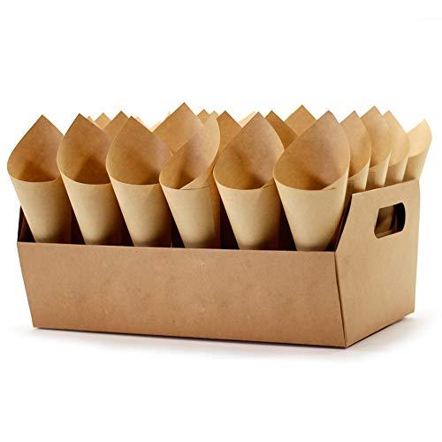 Party Confetti Cone Holder Box - Confetti for Gift Box Wedding, Stand Tray Box Total of 30 Holes for 30 Confetti Cone, and Include 32 Cone Papers (Kraft-F, 1)