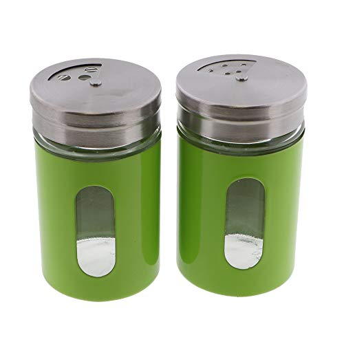 Green Salt Pepper Shakers Retro Spice Jars Glass - Set of 2
