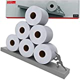 Floating Shelf Toilet Paper Holder - Tilted Matte Grey Toilet Paper Roll Holder for Easy Bathroom Storage - Modern Wall Mount Organizer for Rolls Tissues or Towels Above Sink or Over Toilet