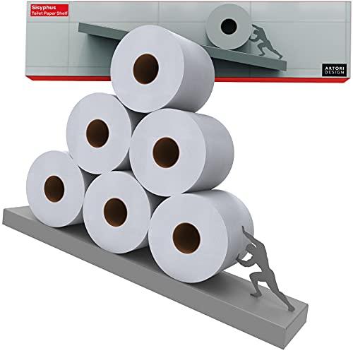 Toilettenpapieraufbewahrung - Graues Regal für Toilettenpapierrollen - Toilettenpapierregal - Badezimmerzubehör - Sisyphus Unique Toilet Rack