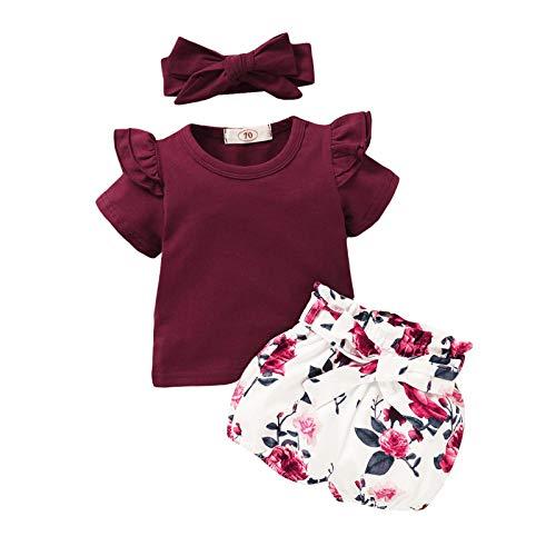 sunnymi 1-5 años para niños pequeños, bebés, niñas, camiseta de manga corta, pantalones cortos de flores, diadema E 4-5Años