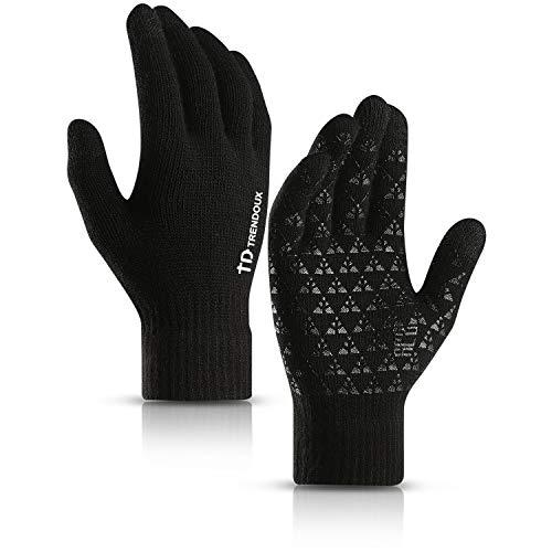 TRENDOUX Arbeitshandschuhe Winter, Handschuhe Herren Touchscreen Damen Handy - Rutschfester Griff - Elastische Manschette - Warm Gefüttert - Dehnbares Material - Thin Thermo Handschuhe - Schwarz L