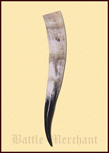 Battle-Merchant Trinkhorn aus echtem Horn ca. 1,5 Liter - Methorn Drinking Horn Mead für Mittelalter, Wikinger und LARP