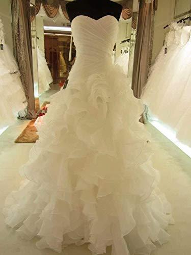 Vestido de Novia Vestido de Novia Vestido de Dama de Honor Hasta el Suelo Cola de Pez Vestido de Novia Sirena de Encaje Vestido de Novia de Arrastre Marfil/Ee.Uu .: 4 (M), LIFU