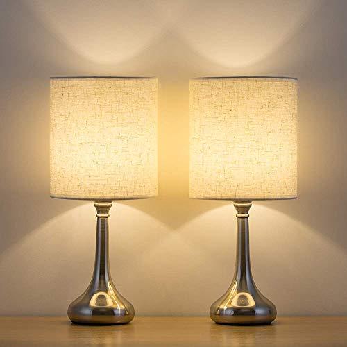 Juego de 2 lámparas de mesa, modernas pequeñas lámparas de mesita de noche con pantalla de lámpara, lámpara de mesa para dormitorio, salón, habitación familiar, hotel, color plateado