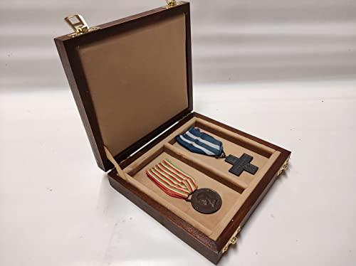 Funda de madera para medallas con cinta vitrina archivadora personalizable terciopelo militar