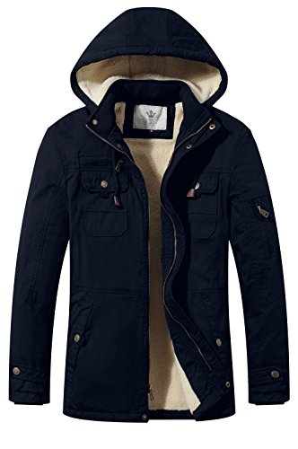 WenVen Men's Cotton Winter Parka Jacket Casual Hooded Warm Coat(Navy,L)