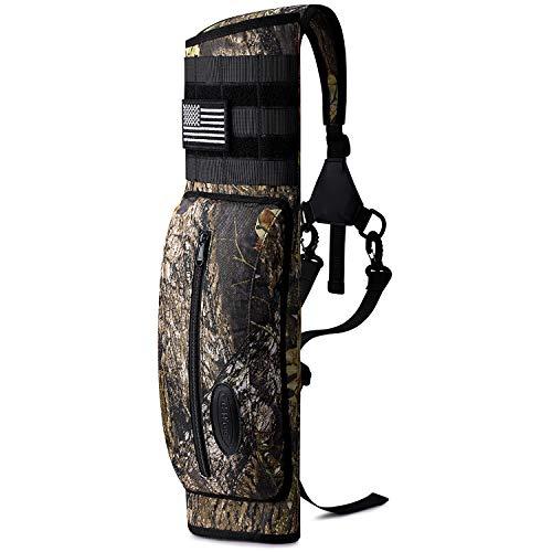 G4Free Archery Freccia posteriore Faretra con sistema Molle in tela spalla appeso caccia bersaglio titolare con tasca per tiro pratica bersaglio (stampa ghepardo)