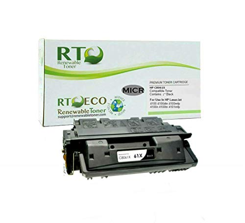 Renewable Toner Compatible MICR Toner Cartridge High Yield Replacement for HP C8061X 61X Laserjet 4100 4100mfp 4100dtn 4100n 4100tn�