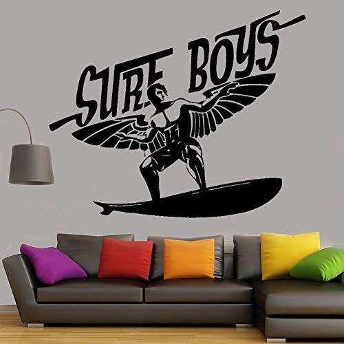 Surfista Niños Pared Calcomanía Surf Deportes Tabla De Surf Pegatina Decoración Del Hogar Pared Vinilo Calcomanía Para Sala De Estar Adolescentes Dormitorio Arte Mural 69X46Cm