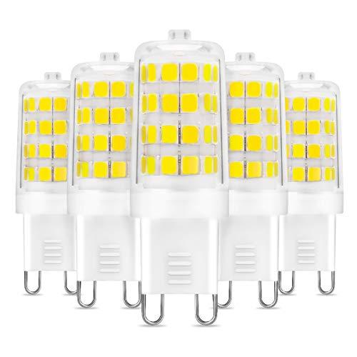 Bombilla LED G9, LE Lámpara G9 5W Reemplaza Bombillas Halógenas de 33W, Blanco Frío 6000K, Bombilla G9 Sin Parpadeo 340 lúmen, No Regulable, Ángulo de Haz de 360°, Paquete de 5