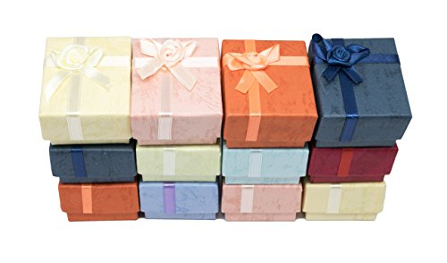 Novel Box Cardboard Jewelry Ring Gift Boxes with Rosebug Bows in Assorted Colors 1.8X1.5X1.8 (Pack of 12) + NB Cleaning Cloth
