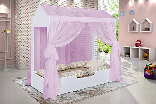 Cama Solteiro Duda Montessori Casa com Voal Rosa