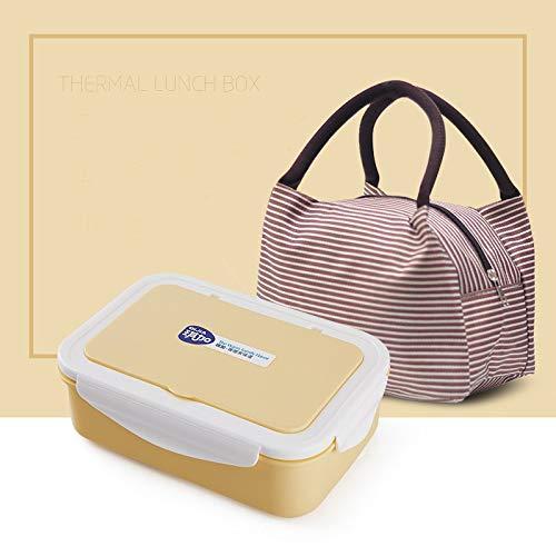 Foshuo Caja de Almacenamiento Reutilizable,Bento Box Fuga Duradera Almuerzo y Cubiertos Reutilizables Lonchera térmica aislada Bento Box Lunch Box de Mano Lonchera de Viaje