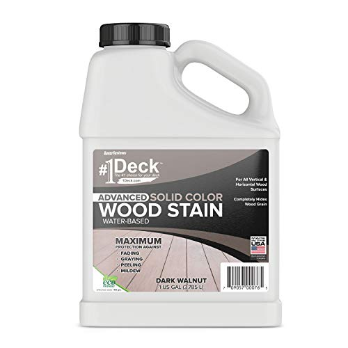 #1 Deck Wood Deck Paint and Sealer - Advanced Solid Color Deck Stain for Decks, Fences, Siding - 1 Gallon (Dark Walnut)