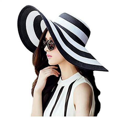 GVCT Sombrero de Paja para el Sol para Mujer Sombrero de Verano de ala Ancha Sombrero Plegable Enrollable para Mujer