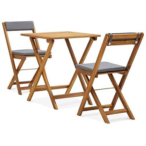 Festnight 3-TLG. Bistro-Set Klappbar Balkonmöbel Set Holz Klappstuhl Holz Gartenmöbel-Set Balkonset Sitzgruppe mit Auflagen Massivholz Akazie