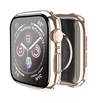 Smiling Case Compatible with Apple Watch Series 6/SE/ Series 5/Series 4 40mm with Built in Tempered Glass Screen Protector- All Around Hard PC Case Overall Protective Cover (Clear)