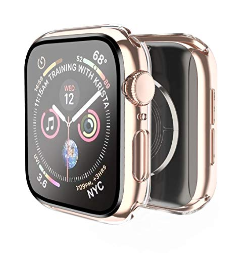 Smiling Case Compatible with Apple Watch Series 6/SE/Series 5/Series 4 40mm with Built in Tempered Glass Screen Protector ,Overall Protective Hard PC Case Ultra-Thin Cover- Clear