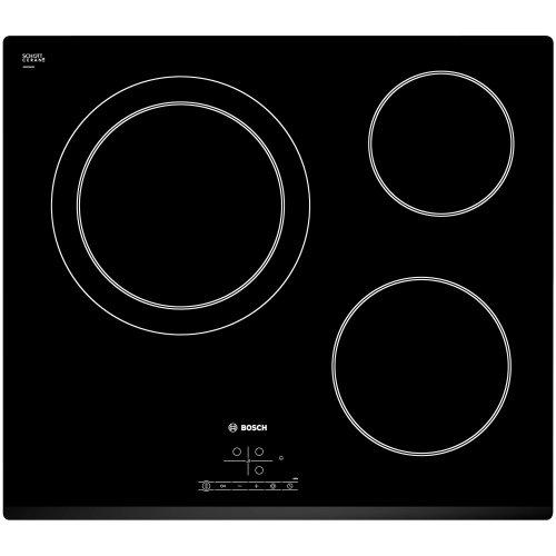 Plaque vitroceramique 3 feux Bosch PKK631B17E - Table de cuisson vitro 3 foyers - Zone de cuisson 28 cm - Timer - Sécurité enfant