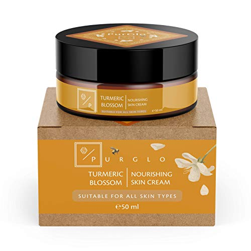 Turmeric Blossom, Natural and Organic Body and Face Cream, By PurGlo - 50ml - Turmeric and Sandalwood infused for all skin types. Made in the UK