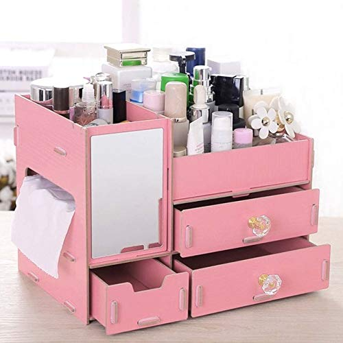 UKKD Makeup Organiser Makeup Organizer Drawers Wood Cosmetic Storage Box Jewelry Dressing Table Skin Care Rack Container Plastic Mirror Organizer