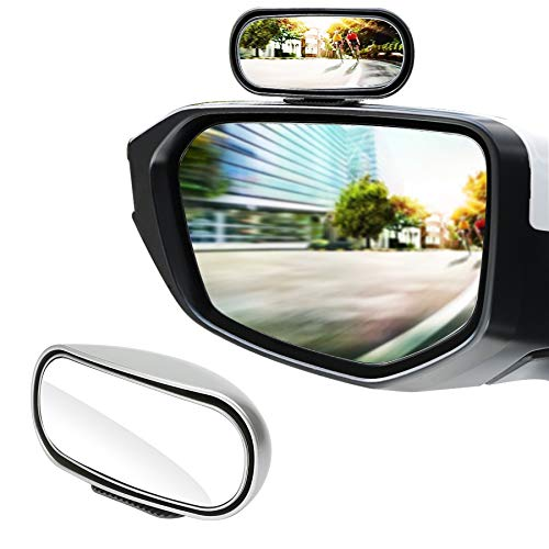 LivTee Universal Adjustable Car rearview auxiliary mirror HD Glass Wide Angle Side Rearview Mirror, Silvery