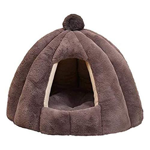 Casa para Mascotas,Cama Gato Cueva Extraíble Lavable Pequeños,Cálido para Invierno Suave Felpa Nido Cueva para Perros Gatos con Desenfundable Cojín(Color:Gris,Size:M)