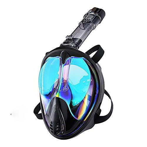 RatenKont Máscara de Buceo en la Cara Completa Submarino Buceo antiiezca Gafas Panorámica Amplia Vista Snorkel Mascarilla Equipo de natación Black Blue L/XL