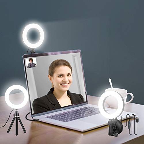Ring Light for Zoom Meetings, Laptop Ring Light with Tripod Stand, Ring Light with Suction Cup for Computer Monitor …