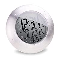 BOOMYOURS Suction Cup Waterproof Kitchen Bathroom Digital Clock with Digital Thermometer Standard