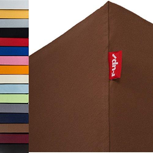 r-up Passt Spannbettlaken 180x200-200x220 bis 35cm Höhe viele Farben 100% Baumwolle 130g/m² Oeko-Tex stressfrei auch für Boxspringbetten (braun)