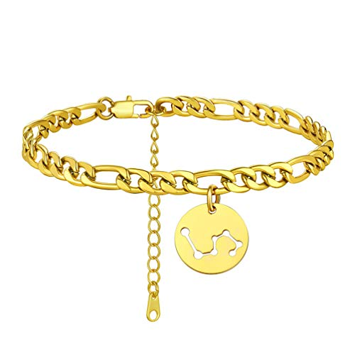 PROSTEEL Thick Ankle Bracelet 22-27CM Leo Anklet Gold Plated Dainty Barefoot Jewelry