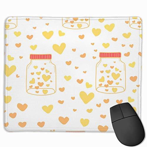 Yellow Love Heart Rechteckiges, rutschfestes Gaming-Mauspad Tastatur Gummi-Mauspad...