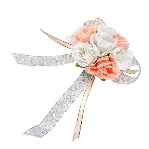 Fditt 2 stuks bruiloft pols corsage party mooie hand band bloem bruid bruidsmeisje pols afstudeerbal bruiloft decoratie MEERWEG verpakking socialme-eu