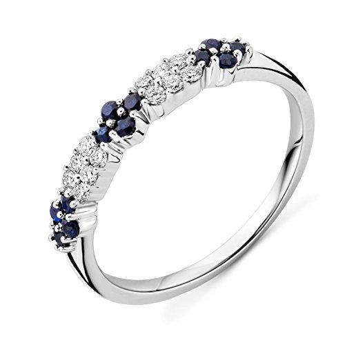 Miore Ring Damen Weißgold 9 Karat / 375 Gold Saphir Diamant Brillianten 0.12 ct