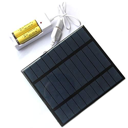 EastMetal Panel Solar 2,5W con Base, Carga de Batería Recargable, Cargador de Panel Solar de Célula Solar Portátil con Puerto USB, para Teléfonos Inteligentes, Camping Aire Libre, 2 Battery AA/AAA