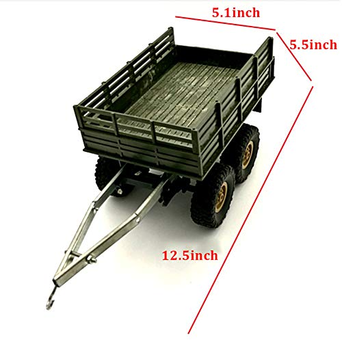 Rojuicy Wpl Four / Six-Drive Military Truck Toy Military Vehicles Toys Simulation Car for Boy,4 Wheel Trailer Accessories Toy Car DIY Upgrade Conversion Accessories