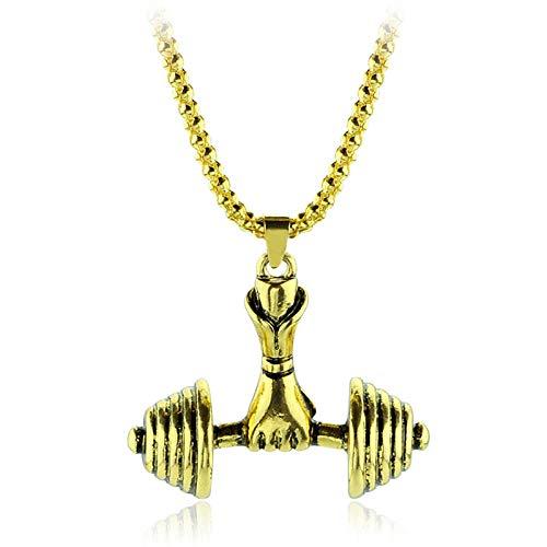 N / A Collar Gótico Moda Hombres Collares Colgante Collar Barbell Deportes para Hombres Joyería Collar Largo Gimnasio Joyería-Oro