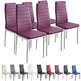 Albatros 2708 Milano Set de 6 sillas de Comedor, púrpura