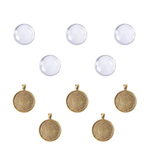 PandaHall - Lot de 5 Sets Supports Pendentif en Alliage de Métal Doré Antique Cabochons en Verre Transparent pour Bijoux, Rond, Pendentif: 41x32x3mm, Trou: 4mm, Plateau: 30mm