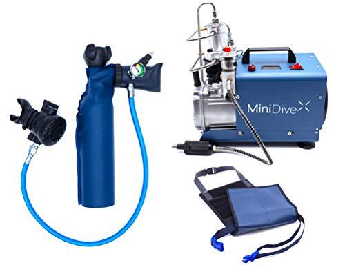 MiniDive Mini Botella De Buceo 0.5 L Azul Aluminio Con Compresor De...