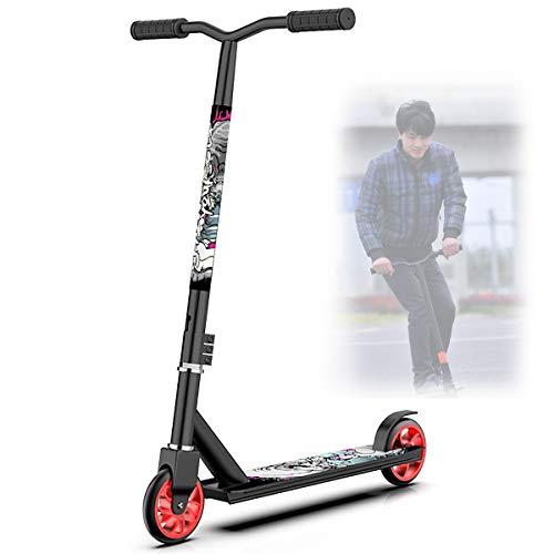 Scooters Escolares,Dos Ruedas Scooters Competitivos para NiñOs Adolescentes,Scooters de Pedales Extremos con Cool Stunts/OperacióN FáCil,Black Aluminum Wheel Core