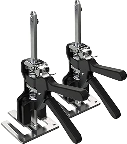 2 Packs Viking Arm Hand Tool Jack Set,Door Panel Lifting Cabinet Jack, Up to 330 Lb, Board Lifter, Wall Tile Height Adjuster, Gift for Men/Father's Day (Black)