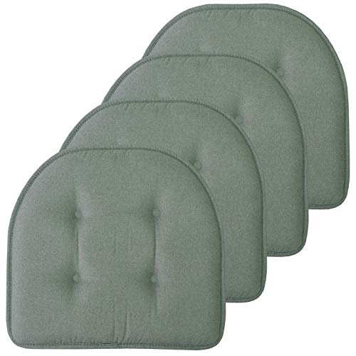 Sweet Home Collection Chair Cushion Memory Foam Pads Tufted Slip Non Skid Rubber Back U-Shaped 17' x 16' Seat Cover, 4 Pack, Scuba Green