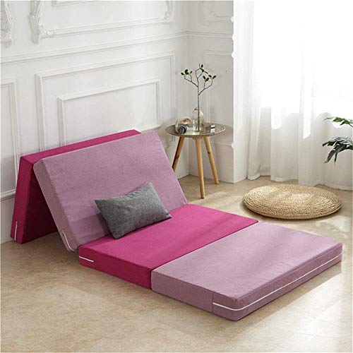 Lqfcjnb Folding Mattress Folding Mattress Space Saving Futon Large Foldable Portable Guest Travel Bed Easy Storage Without Occupying Space (Color : Pink, Size : 80x200x8cm)