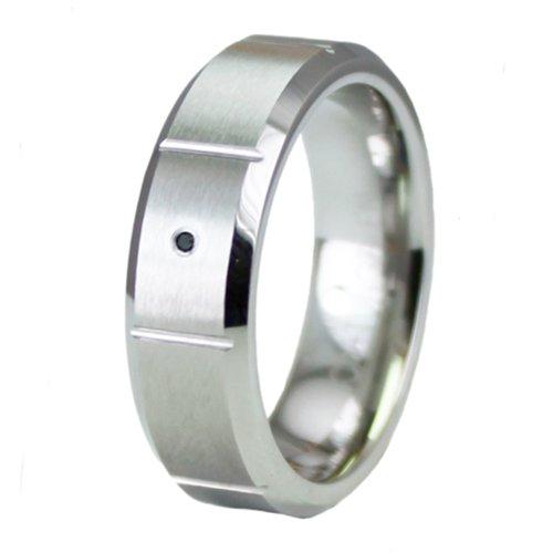 anillo para hombre con Biselado de Cobalto Superior y con Diamante Negro